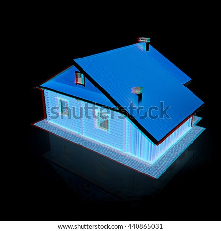 Wooden travel house on a black background. 3D illustration. Anaglyph. View with red/cyan glasses to see in 3D. - stock photo