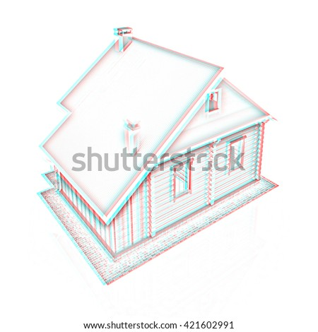 Wooden travel house or a hotel on a white background. Pencil drawing. 3D illustration. Anaglyph. View with red/cyan glasses to see in 3D.
