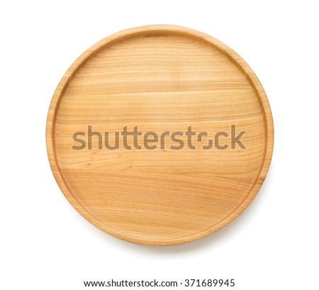 wooden tray isolated on white background - stock photo