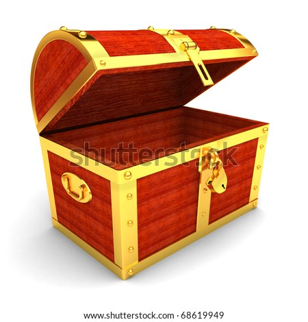 Wooden treasure chest - stock photo