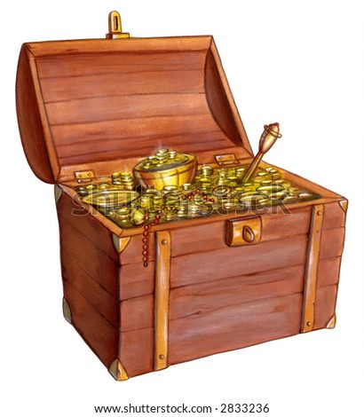 Wooden treasure chest. Hand painted illustration. - stock photo