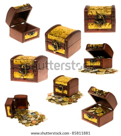 Wooden treasure chest of money over white background - stock photo