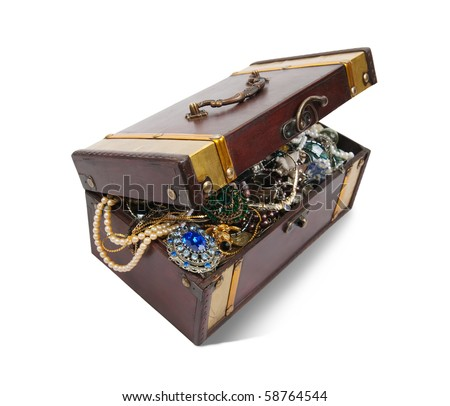 wooden treasure chest with valuables and gem, isolated with clipping path