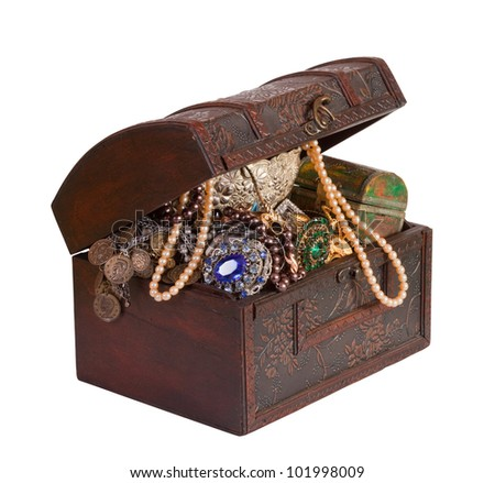 Wooden treasure trunk with jewellery, isolated with  clipping path - stock photo