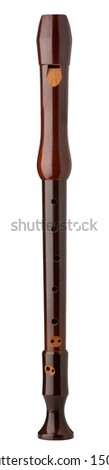 Wooden Treble Recorder isolated on white with clipping path - stock photo