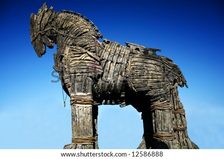 Wooden troya horse in dardanelles turkey