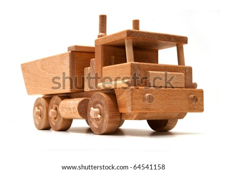 Wooden truck toy - stock photo
