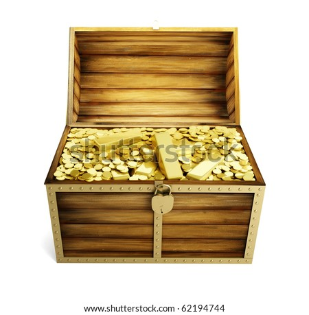 wooden trunk is complete bullions - stock photo