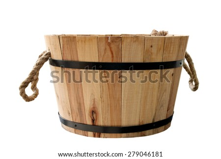 Wooden tub with rope handles isolated on white - stock photo