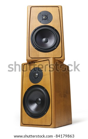 Wooden two audio speakers on white background - stock photo