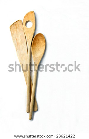 Wooden Utensils with Shadow on White Background - stock photo