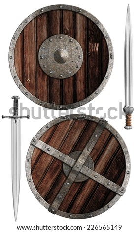 wooden vikings' shields and swords collection isolated on white - stock photo