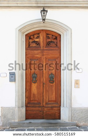 Wooden vintage entry door decorated with carved sculptures arch and molding. Vinci. Italy & Arch Door Stock Images Royalty-Free Images \u0026 Vectors | Shutterstock