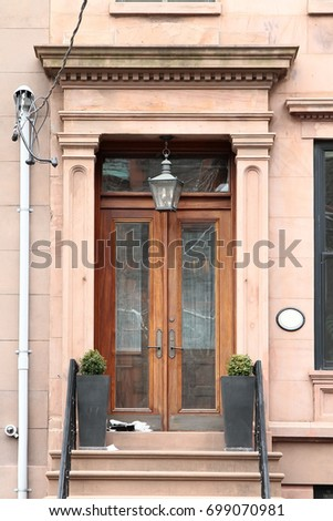 Wooden vintage entry door decorated with pilasters and corbels. New York. USA. & Wooden Vintage Entry Door Decorated Pilasters Stock Photo (Royalty ...