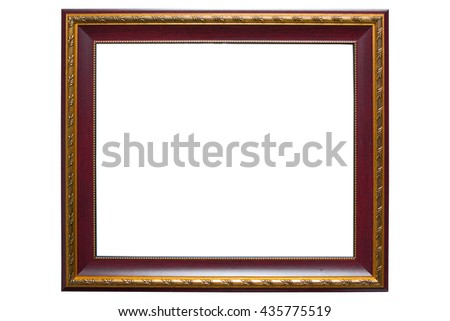 Wooden vintage frame isolated on white background with clipping paths - stock photo