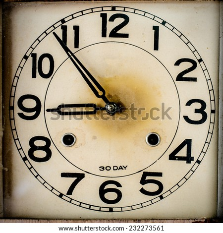 wooden vintage wall clock - stock photo