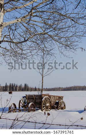 wooden wagon in the snow - stock photo