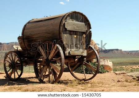 Wooden wagon in the Wild West