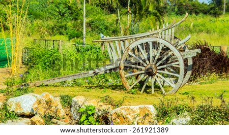 Wooden wagon Thailand rural in agriculture life - stock photo