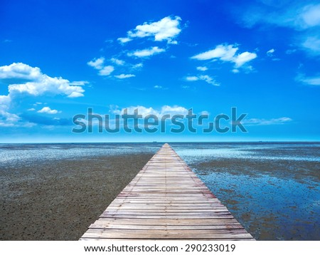 wooden walk-way leading to the tropical sea shore, the rich of ecosystem forms on this type of shore - stock photo