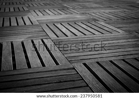 Wooden walkway built to decorate the building. - stock photo