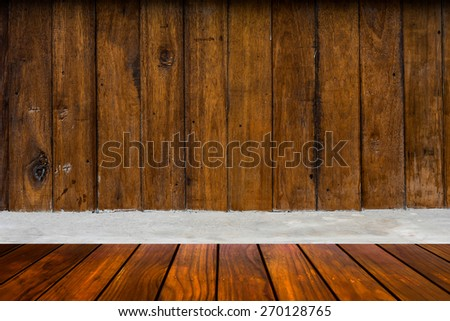 wooden wall and cement and wood floor -  room design surface plank blank simple space texture background - stock photo