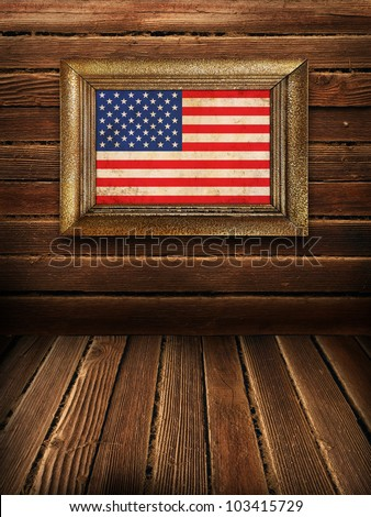Wooden wall and floor with American framed flag, vintage background - stock photo