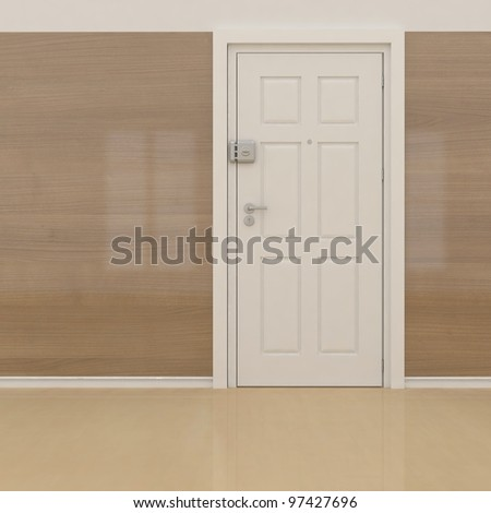 wooden wall and white door - stock photo