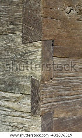 Wooden Wall Corner Vintage Planks - stock photo