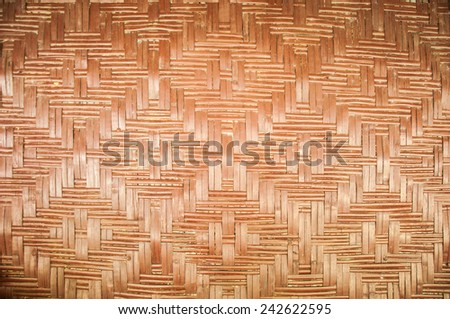 Wooden wall made from bamboo and rattan - stock photo