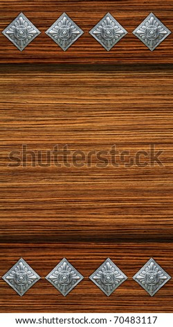 Wooden wall Thai silver engraving plate - stock photo