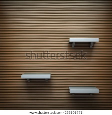 Wooden wall with a few shelves on it.  - stock photo