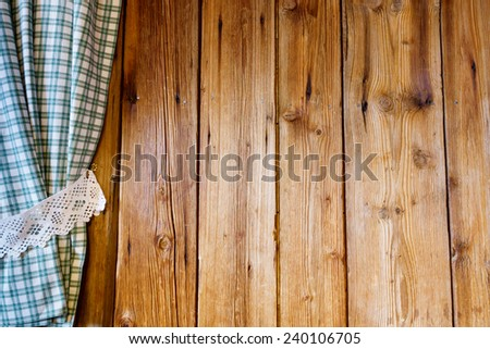 Wooden wall with curtain - stock photo