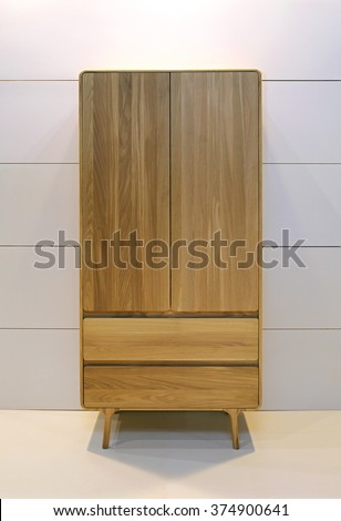 Wooden Wardrobe Closet With Two Drawers - stock photo