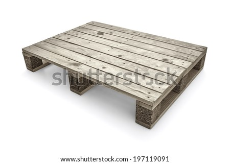 Wooden warehouse pallets on white background -Clipping Path - stock photo