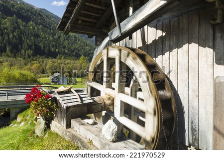 Wooden water mill, moving, Italy