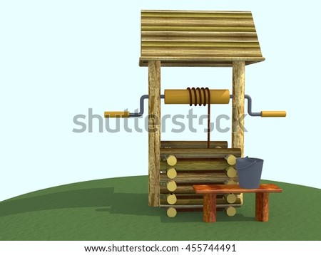 Wooden well on the hill. 3d illustration. - stock photo