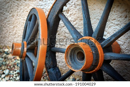Wooden Wheels From Car - stock photo