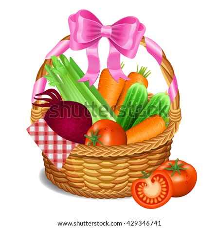 Wooden wicker basket with vegetables, isolated on a white background