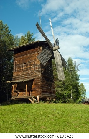Wooden wind mill in old tradition,North Russia