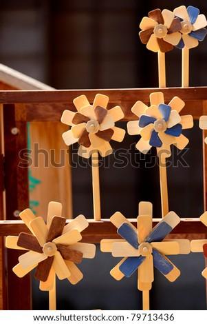Wooden windmill decoration - stock photo