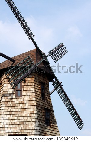 Wooden windmill of outdoor restaurant in Thailand - stock photo