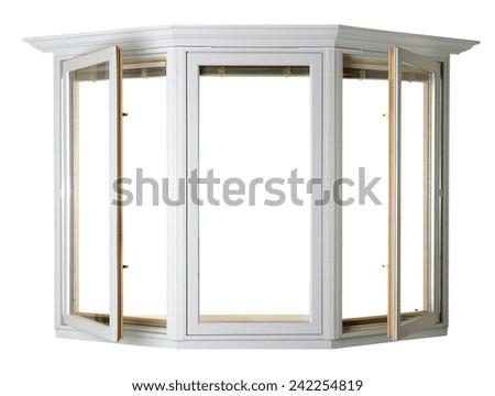 Wooden window isolated - stock photo