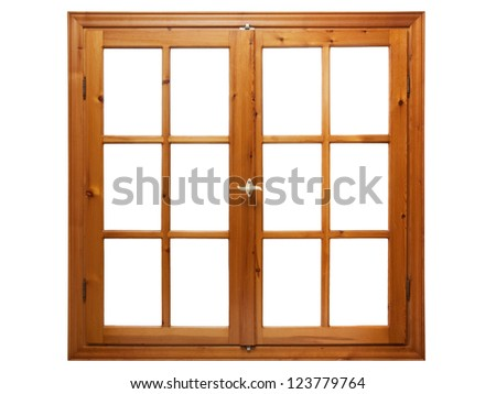Wooden window isolated on white background stock photo for Window frame designs house design