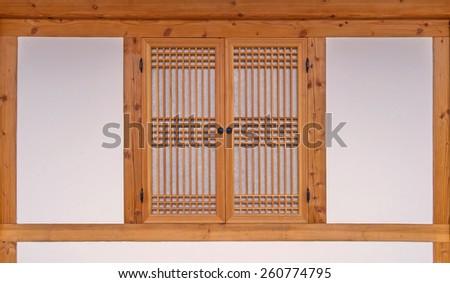 wooden window korean style in South Korea. - stock photo
