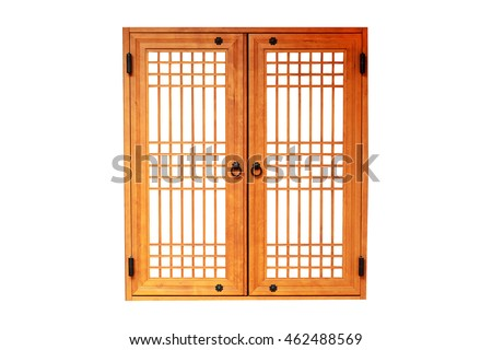 Wooden window korean style isolated on white background