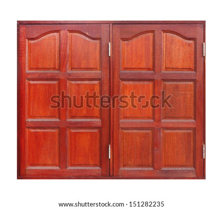wooden window on white background (with clipping path) - stock photo