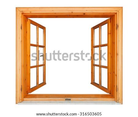 Wooden window opened with marble ledge isolated on white background - stock photo