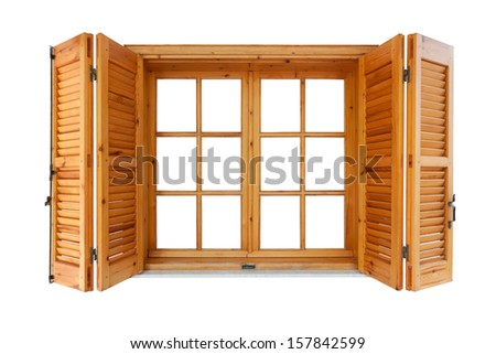 Wooden window with shutters isolated exterior side - stock photo