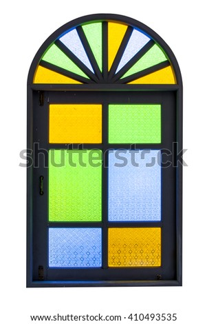 Wooden window with stained glass isolated on white background - stock photo